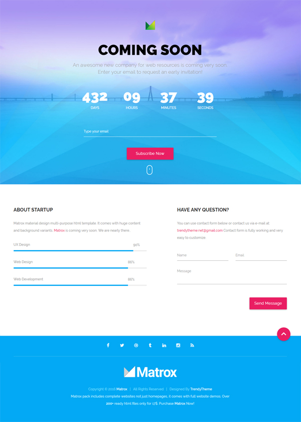 Free Material Design Coming Soon Template