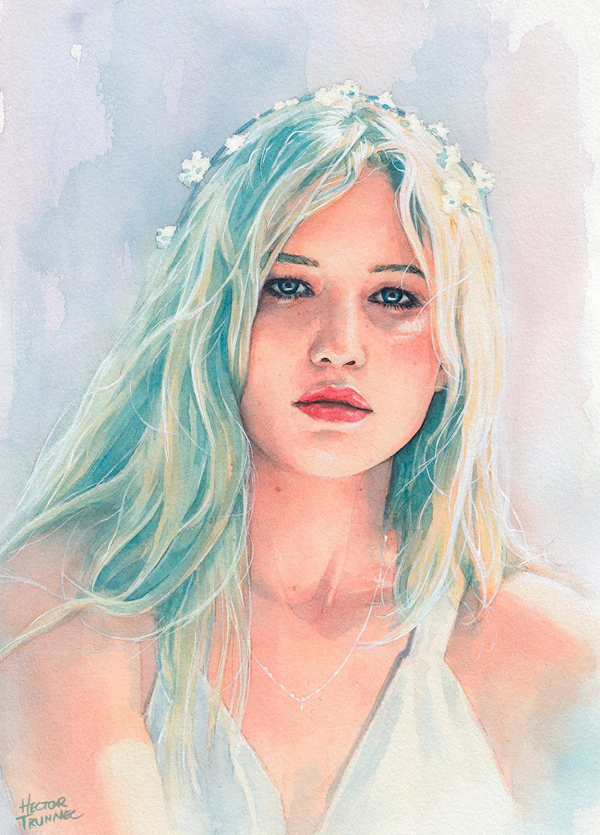 Amazing Watercolor Portrait Illustrations By Hector Trunnec - 18