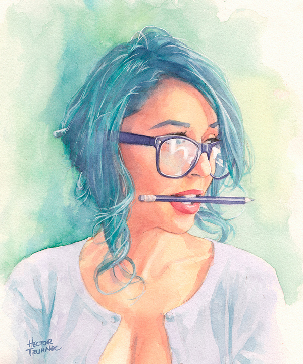 Amazing Watercolor Portrait Illustrations By Hector Trunnec - 20