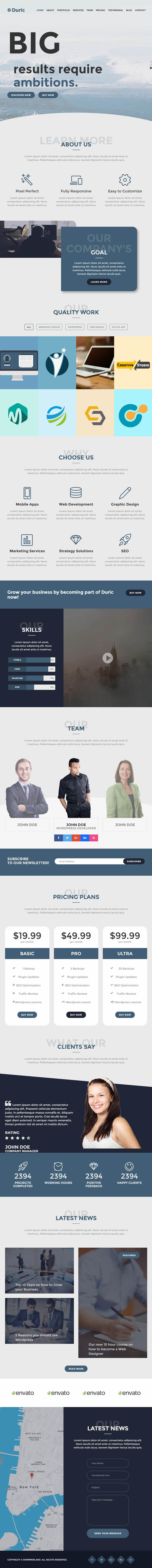 Duric - One Page Creative HTML Template