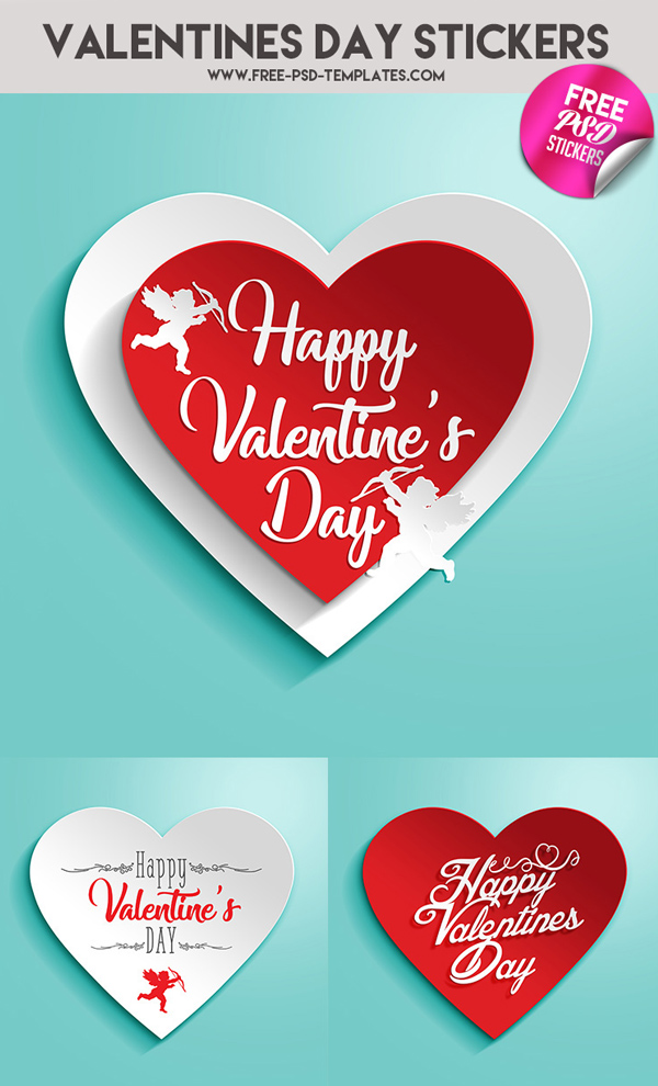 Free Valentine's Day Stickers and Templates PSD