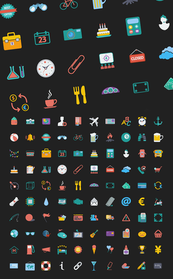 100 Free Colorful Web Design Icons