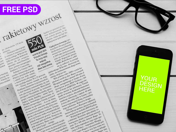 Free PSD iPhone With NewsPaper Mockup