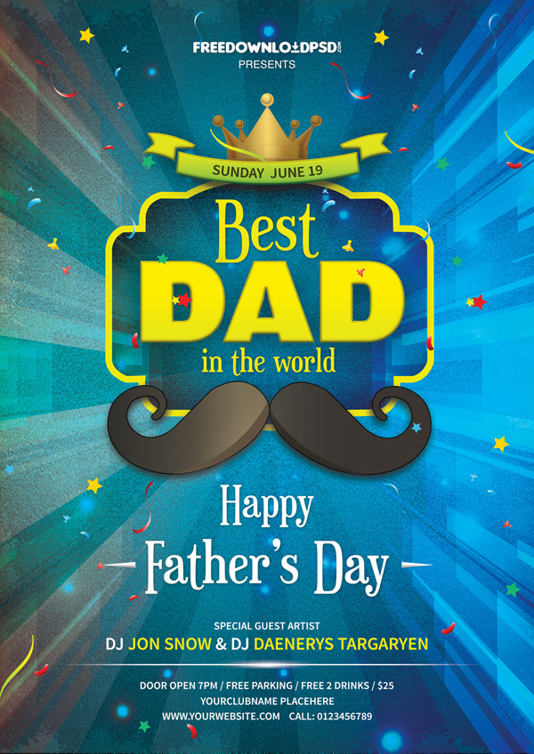 Free Fathers Day Party Flyer PSD Template