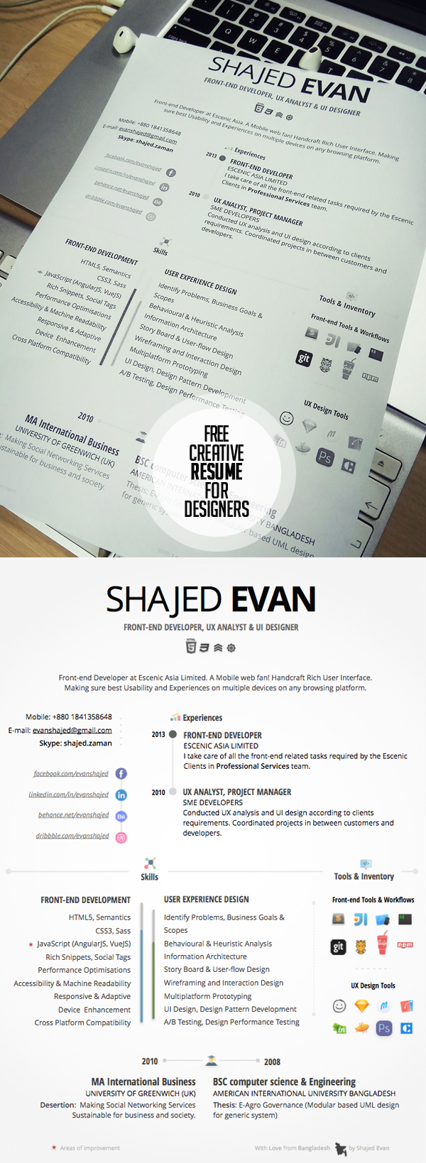 Free Creative Resume for Designers & Developers