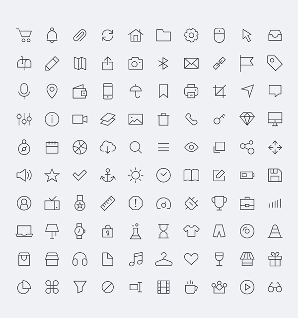 Free Vector line Icons PSD (100 Icons)
