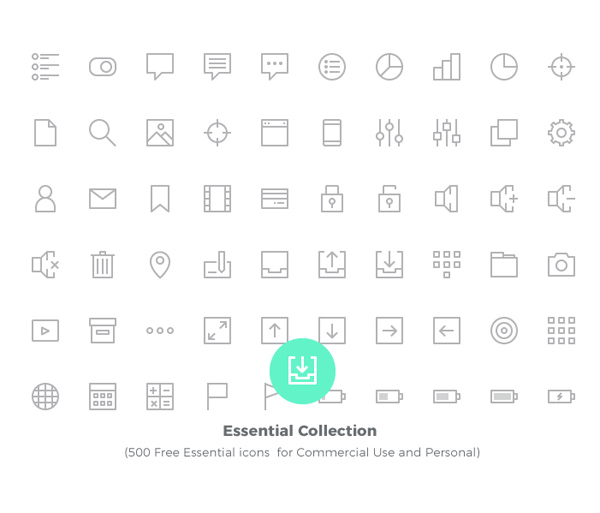 Free Essential icons for Commercial Use and Personal (500 Icons)