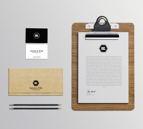 Free Stationery Elements Mockup PSD Template