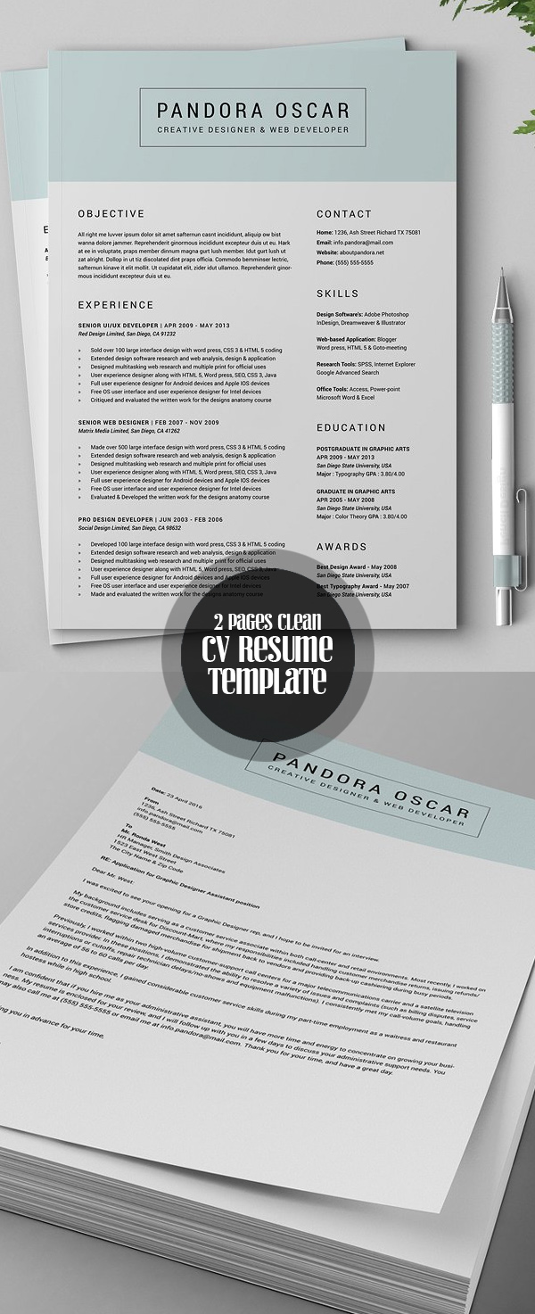 2 Pages Clean Resume CV Template