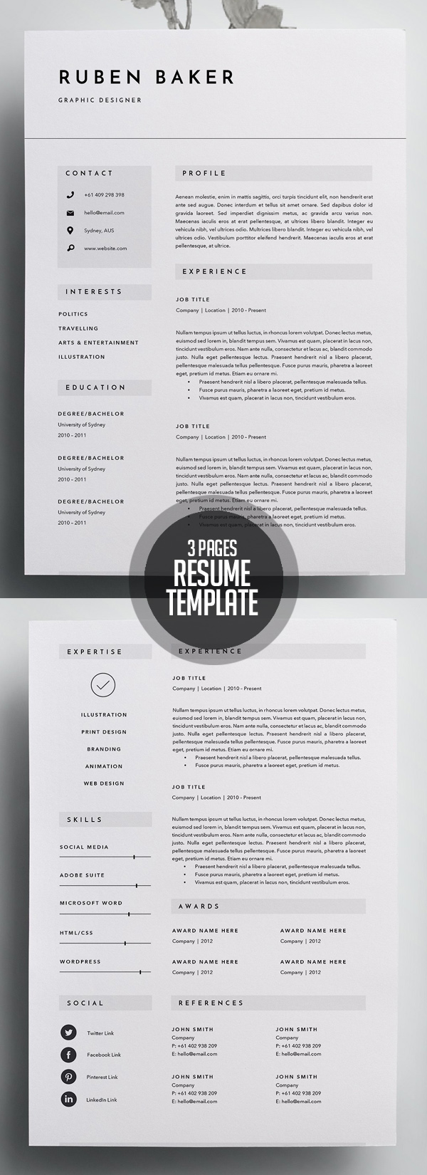 Creative 3 Page Resume Template