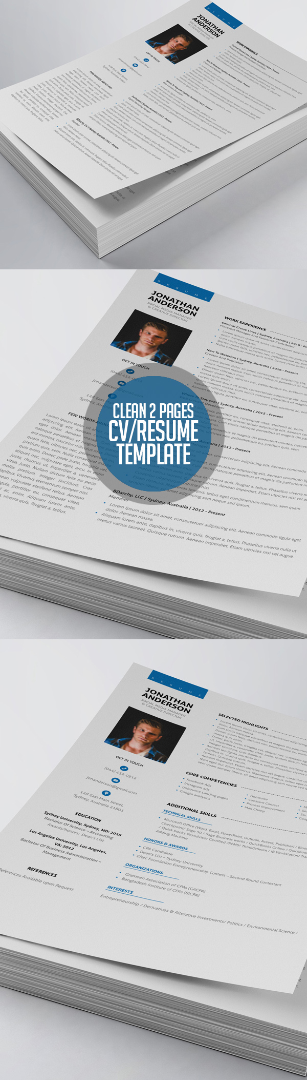 Clean 2 Pages CV/Resume Template