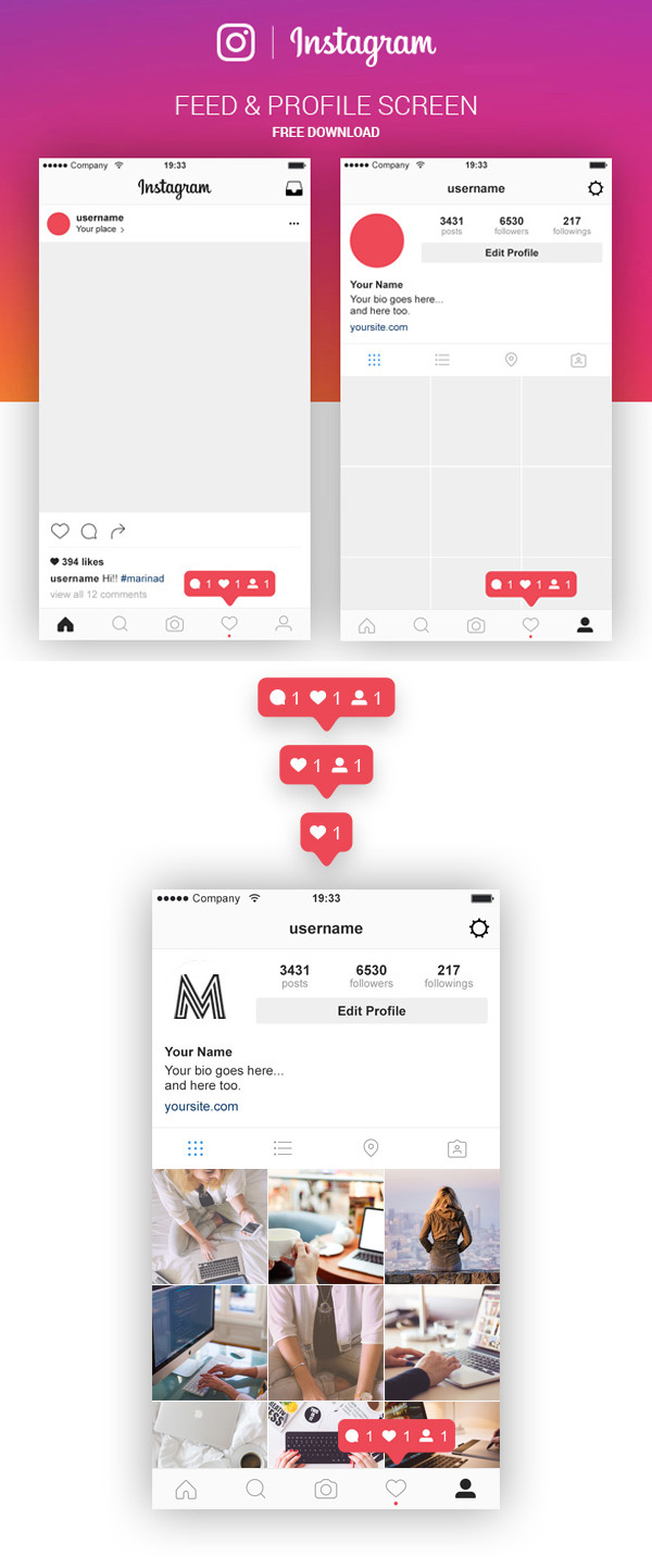 Free Instagram Feed & Profile Screen PSD UI Kit