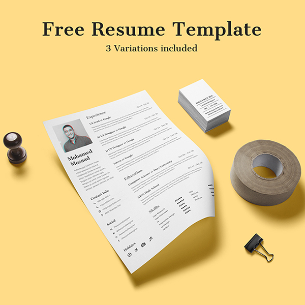 Free Clean and Minimal Resume with 3 Variations