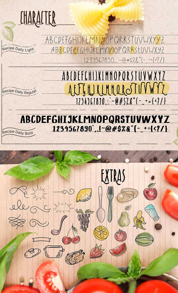Recipe Daily Font Letters