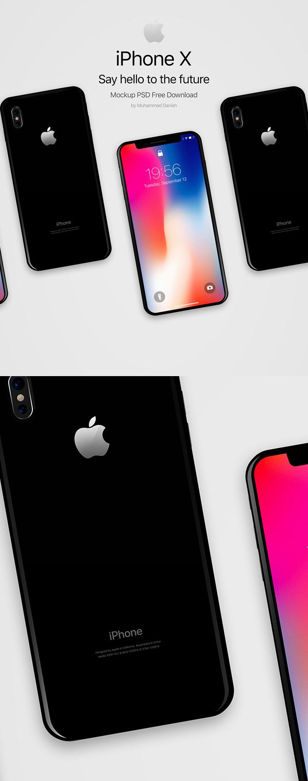 Free Download iPhone X PSD Mockups and Sketch - 6