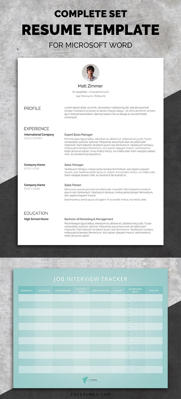 Professional Resume Template Set | Spick And Span