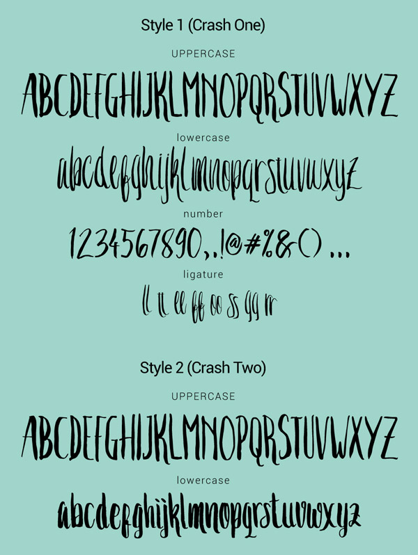 Crash One Free Font Letters