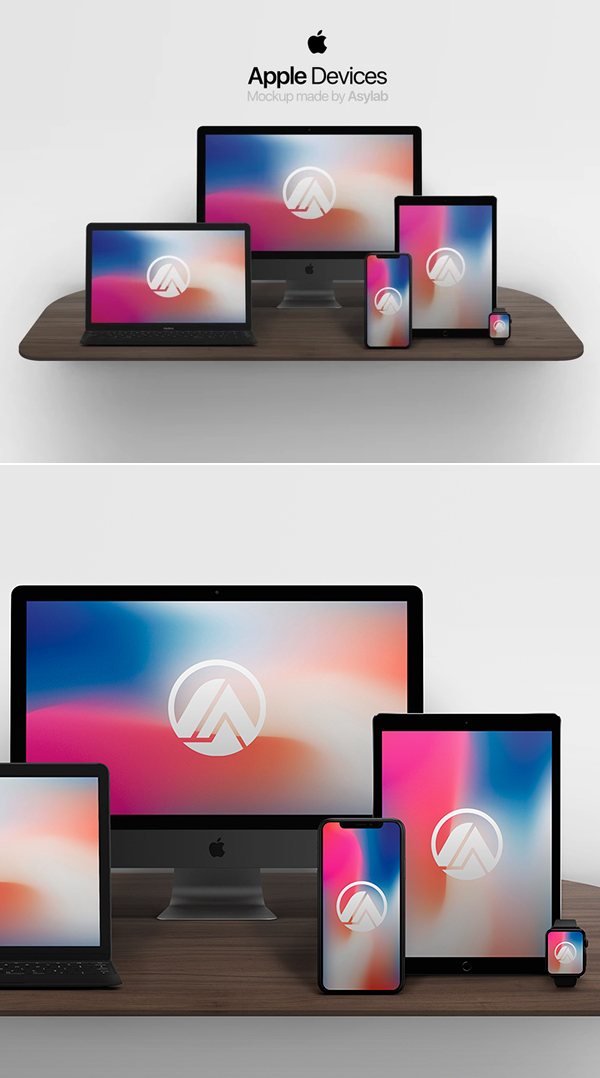 Free Apple Devices Mockup PSD Templates
