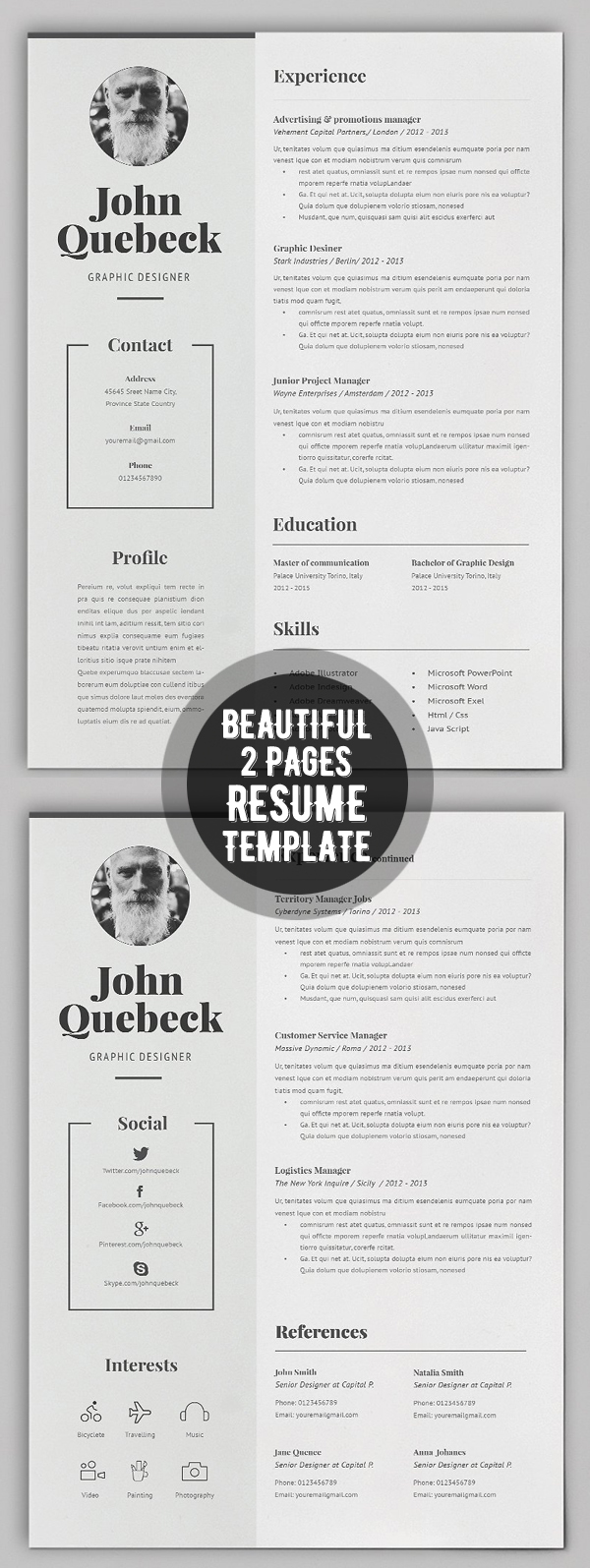 Beautiful 2 Pages Resume + Cover Letter Template