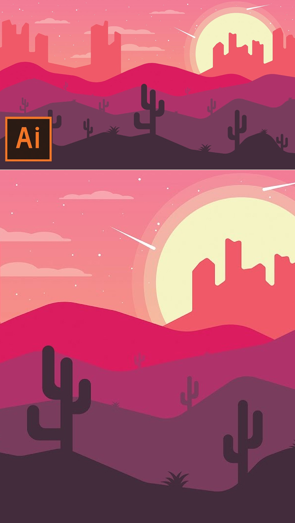 How to Draw Desert Landscape Flat Design In Illustrator Tutorial