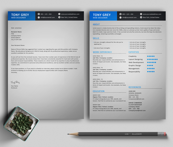 Freebie – Simple Resume Template with Cover Letter - 4