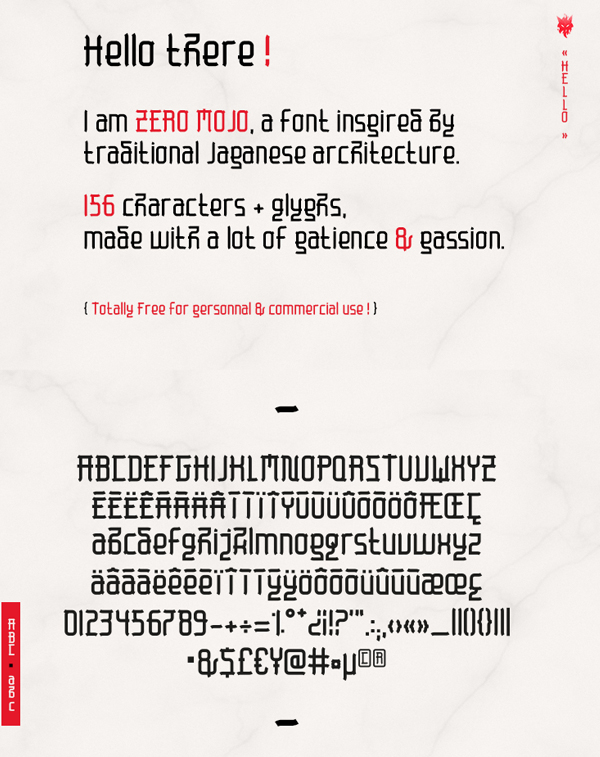Zero Mojo Free Font Letters and Numbers