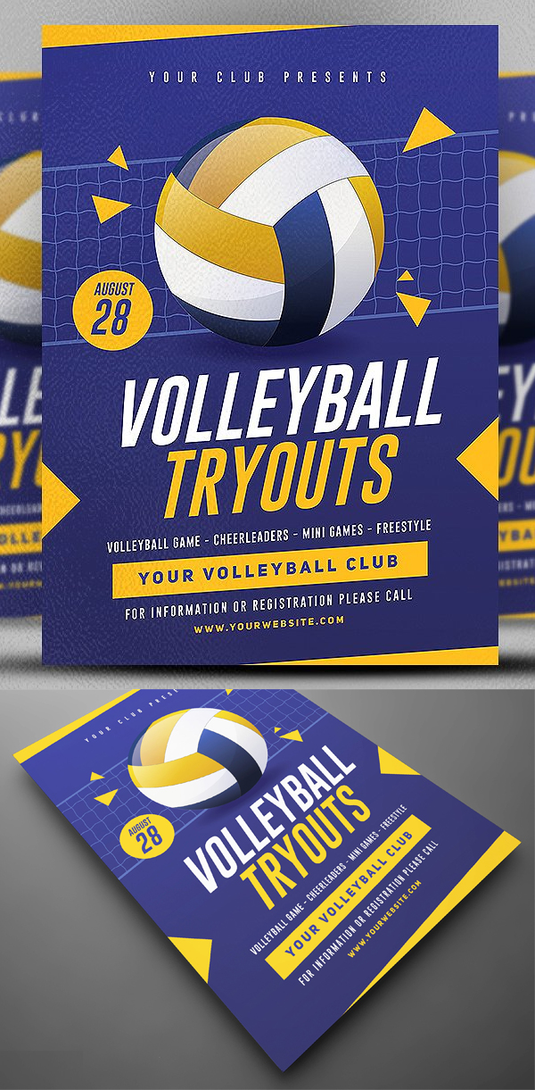 Volleyball Tryouts Flyer Template