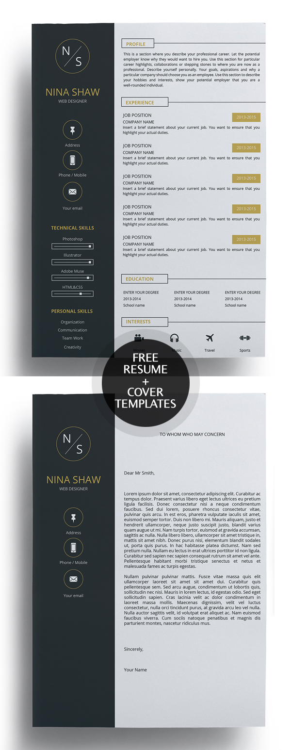 Freebie: Super Clean Free Resume Template and Cover Letter
