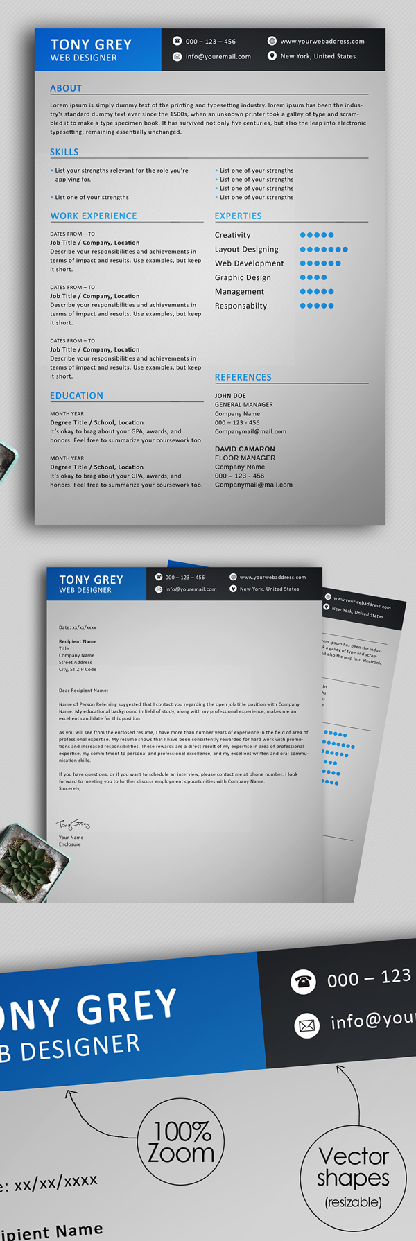 Freebie: Simple Resume Template with Cover Letter