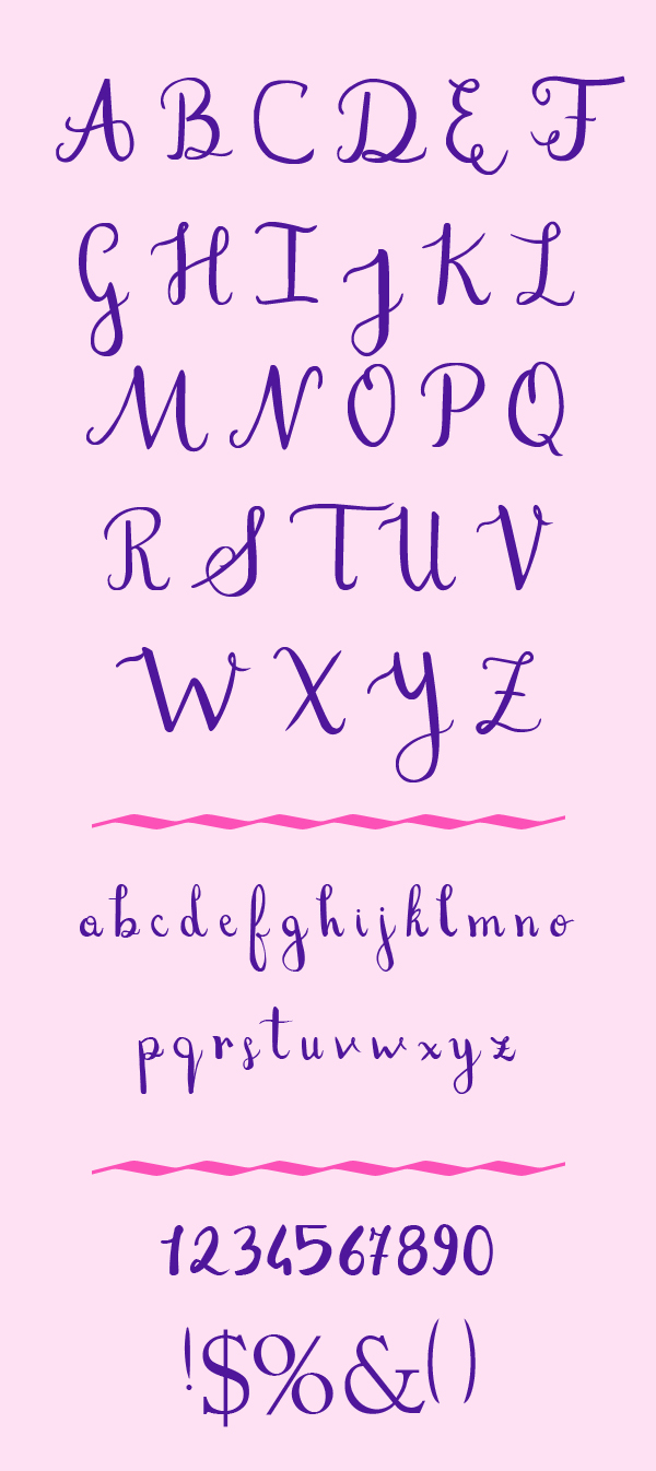Stefania Free Font Letters and Numbers