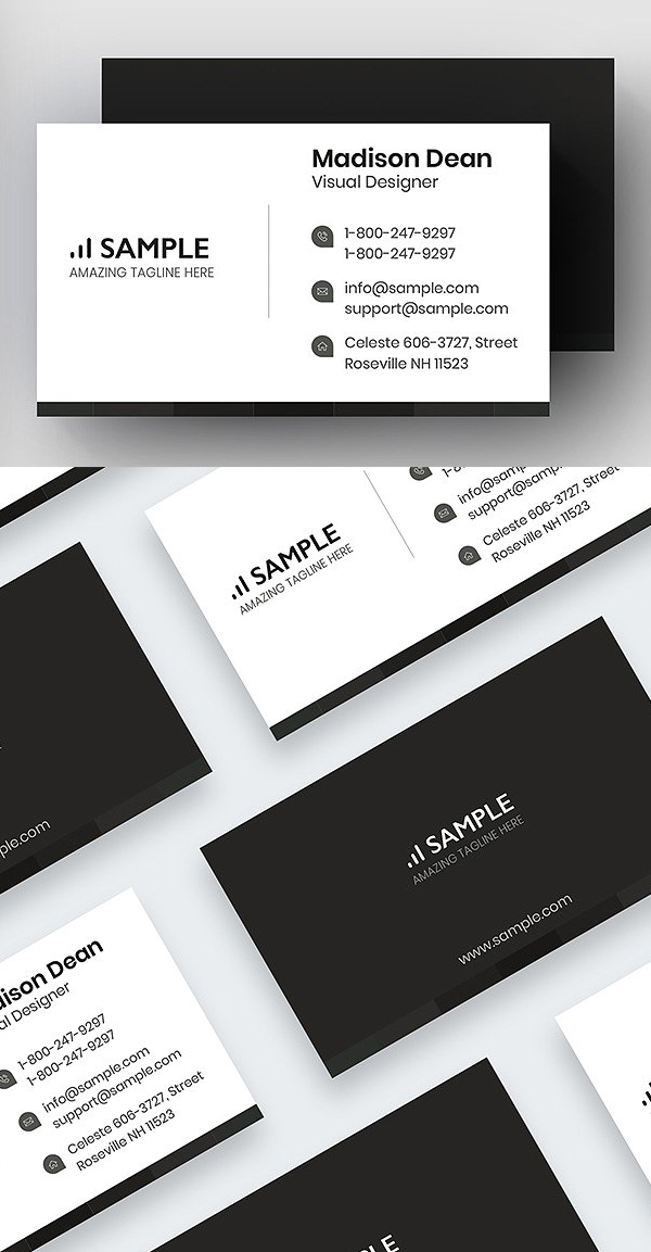 Light and Dark Beautiful Clean Business Card