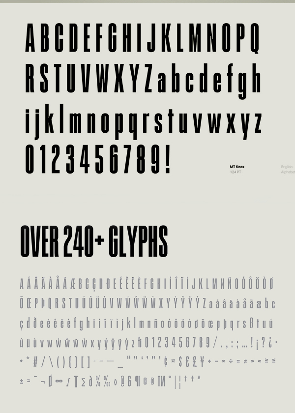 MT Knox Free Font Letters