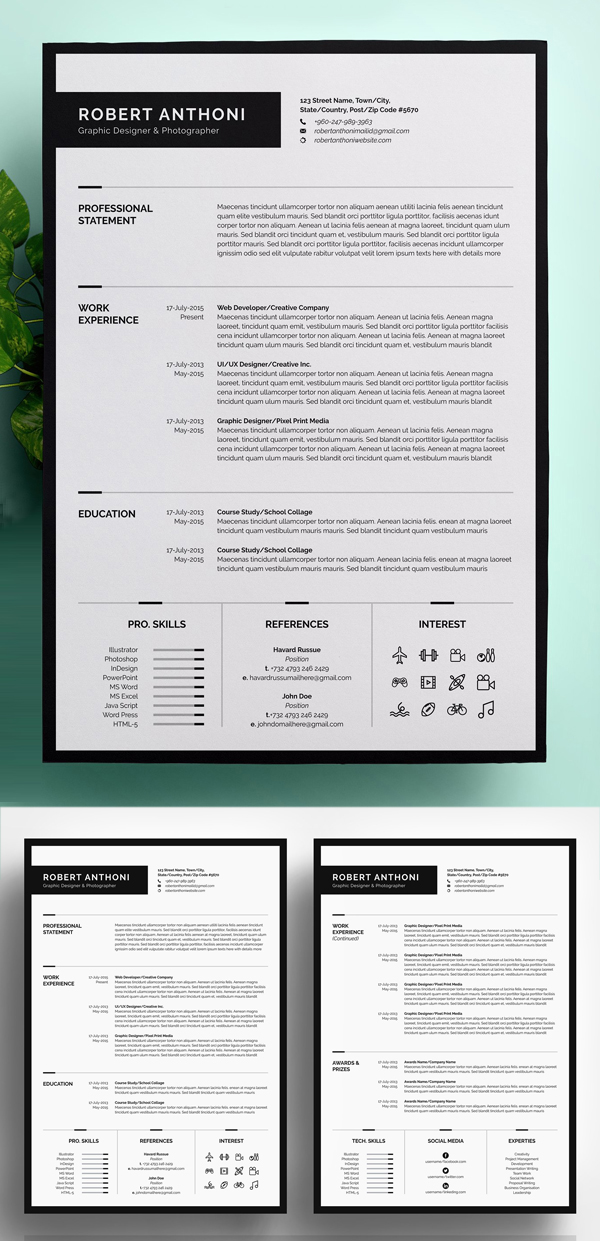 Clean Resume Template (4 Pages)