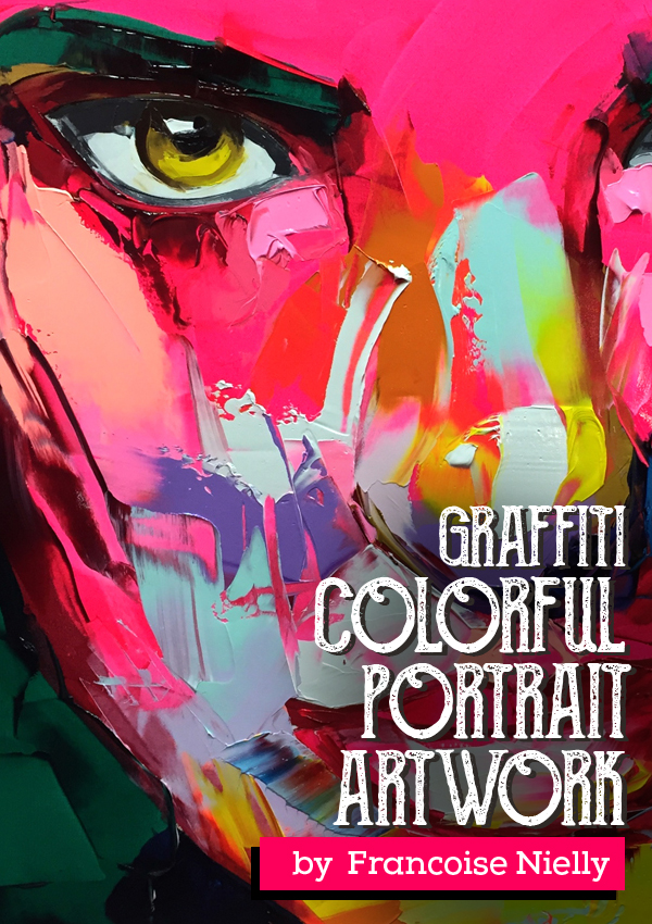Amazing Graffiti Portrait Painting by Francoise Nielly
