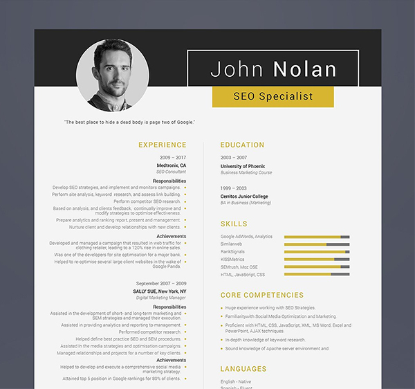 Printable Resume for SEO Specialist