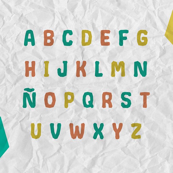Crumpled fonts and letters