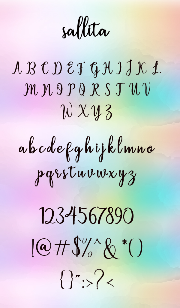 Sallita Calligraphy fonts and letters