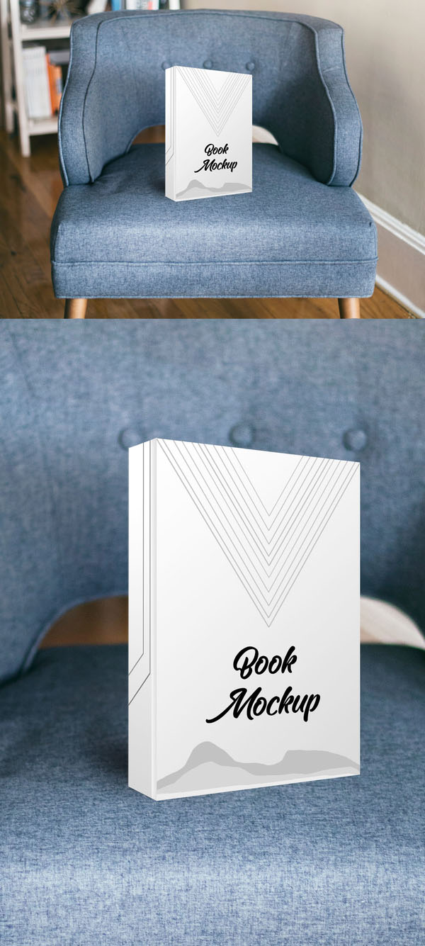 Realistic Book Cover Mockup Free PSD