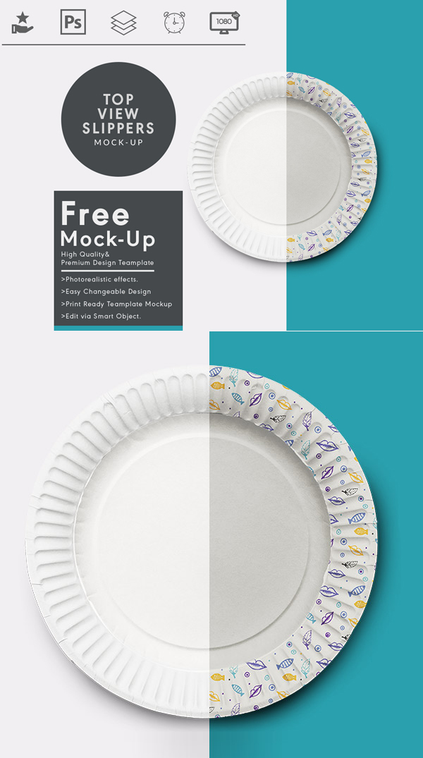 Free Top View Dish MockUp PSD