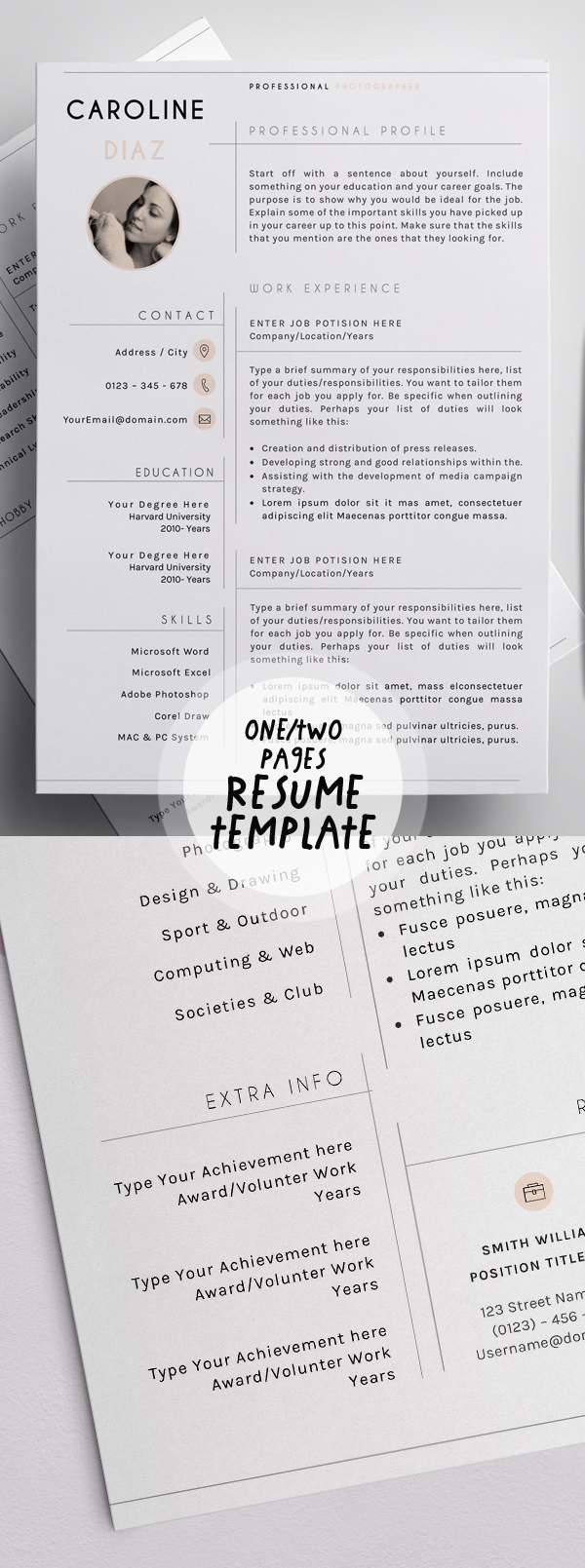 One or Two Page Resume Templates