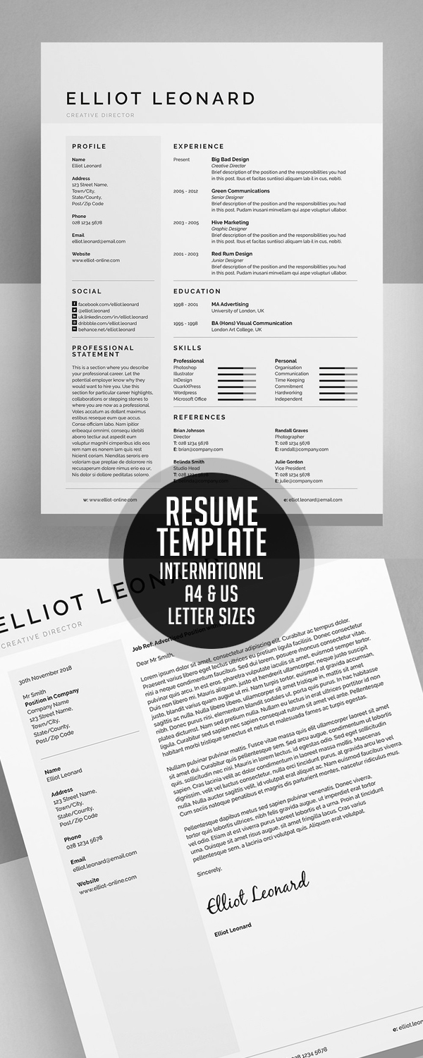 Resume Template – International A4 & US Letter sizes