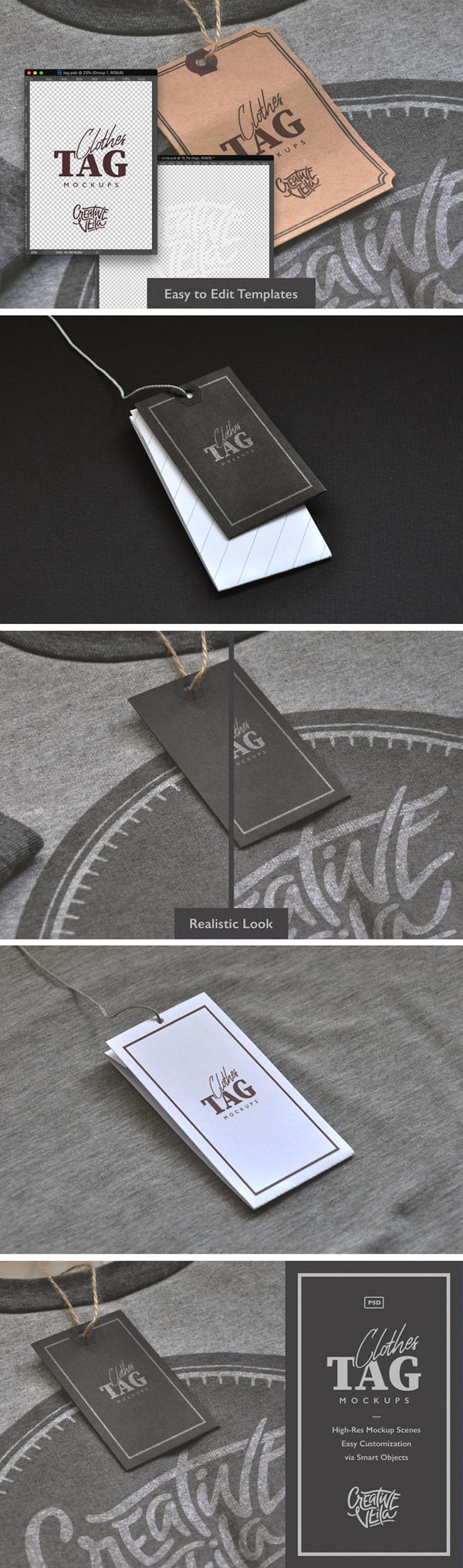 Free Clothes Label Tags PSD Mockups