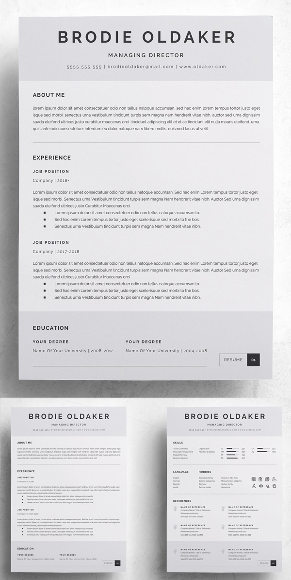 3 Pages Professional Resume Template