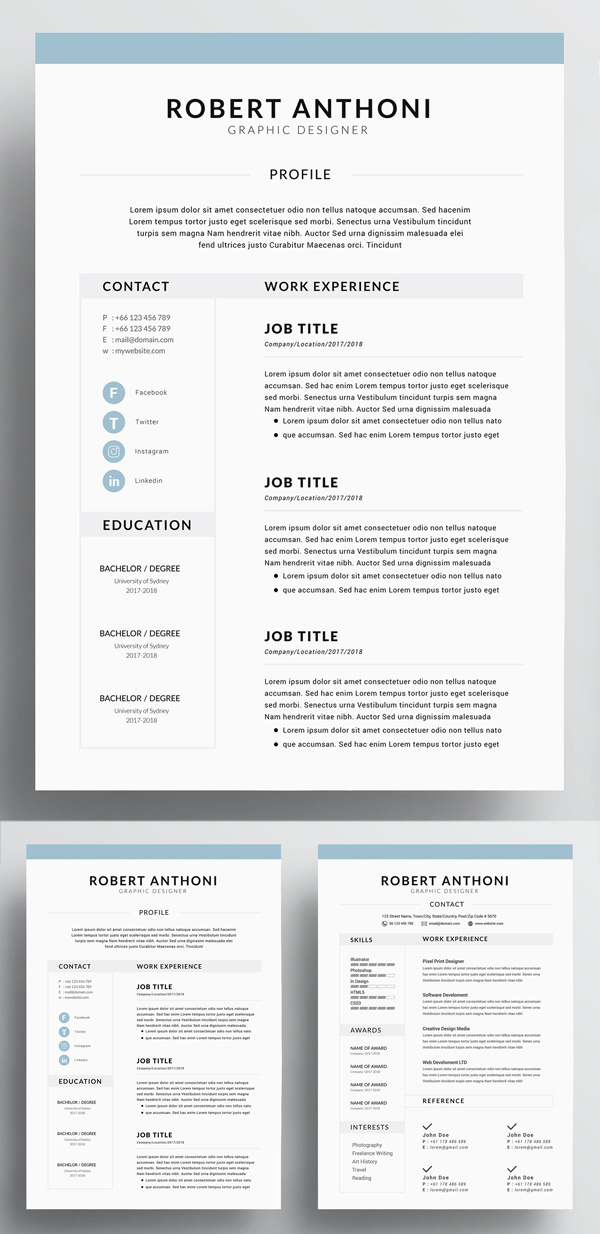 4 Page Resume / CV Template For Word