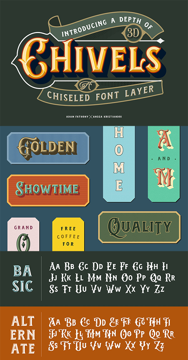Chivels - Chiseled Vintage 3D Type