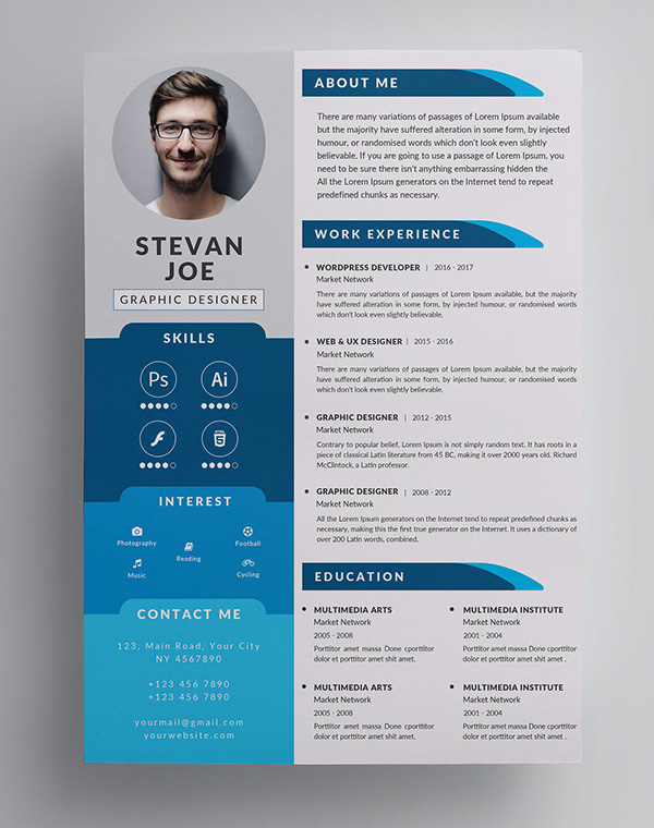 Freebies for 2019: Free Modern Resume Template