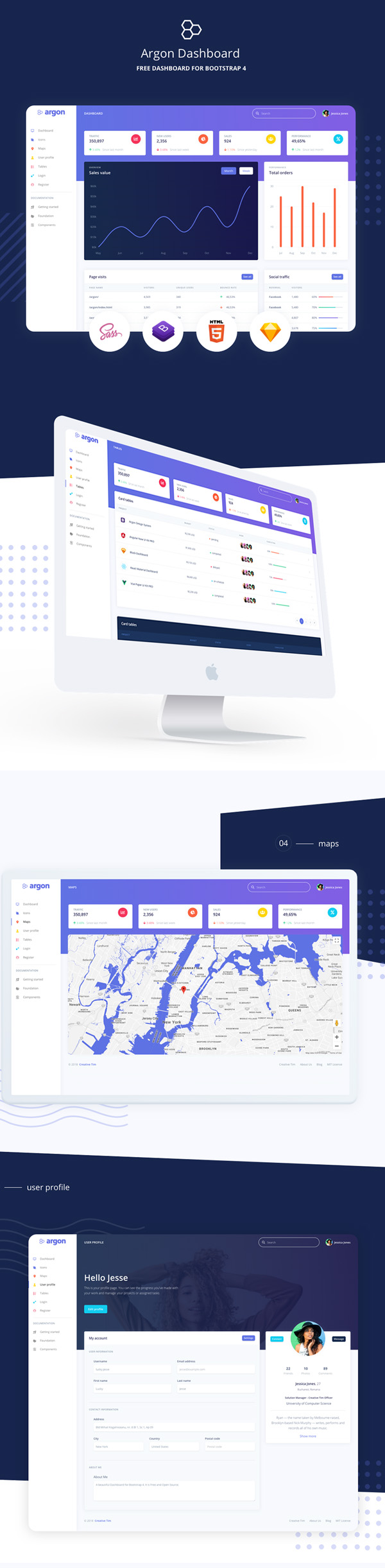 Freebies for 2019: Free Dashboard UI/UX Template for Bootstrap 4