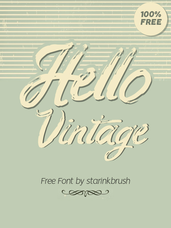Hello Vintage Free Font - 50 Best Free Brush Fonts