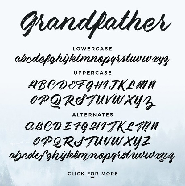 Grandfather - Brush Script Font Letters