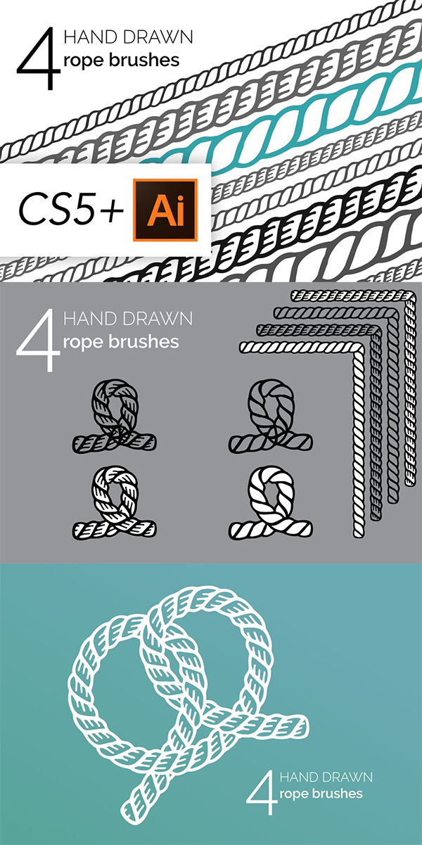 Hand Drawn Vintage Rope Brushes